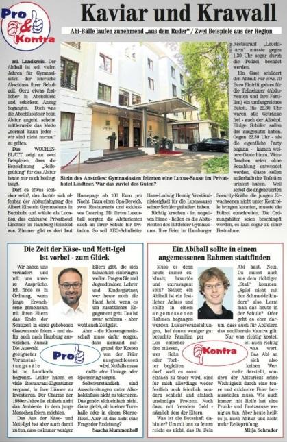 So berichtet das Nordheide Wochenblatt über Abibälle.